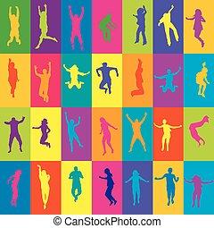 gens, silhouettes, sauter, retro, fond, carrés