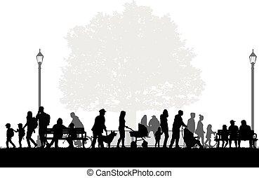 gens, silhouettes, urbain, arrière-plan.