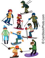 gens, ski, dessin animé, icône