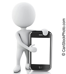 gens, smartphone., suivant, 3d, blanc