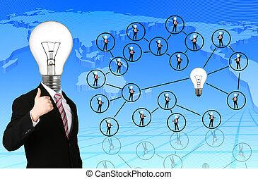 gens, social, réseau, communication
