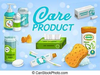 gens, soin, vecteur, produits, hygiène