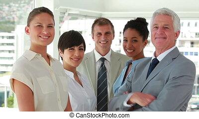 gens, sourire, business, applaudir
