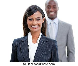 gens, sourire, business, jeune