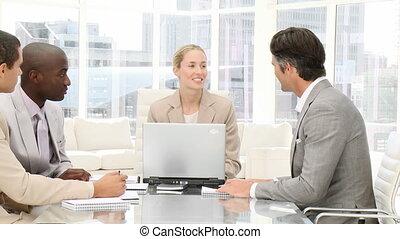 gens, sourire, business, meetin