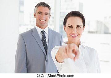 gens, sourire, travail, business