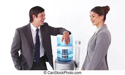 gens, suivant, affaires conversation, plus frais, eau