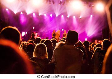 gens, sur, concert musique