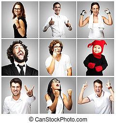 gens, sur, gris, joyeux, fond, composition