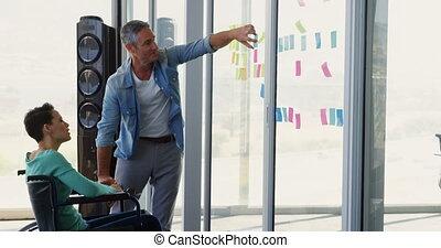 gens, sur, mur, notes, business, collant, verre, caucasien,...
