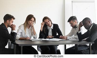 gens, surmené, divers, mécontent, travail groupe, results., désordre