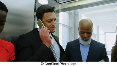 gens, téléphone, conversation, ascenseur, business, 4k