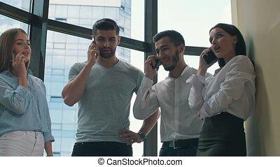 gens, téléphone, conversation