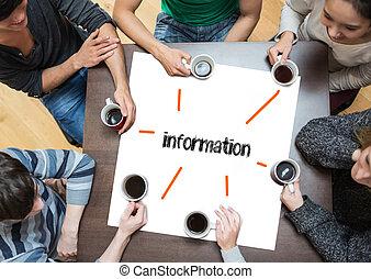 gens, table, autour de, mot, page, séance, information, café buvant