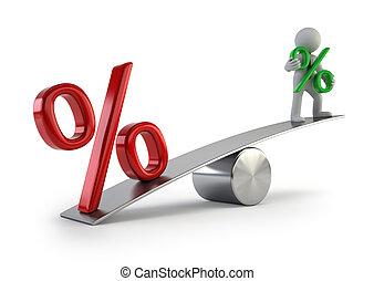 gens, -, taux, bas intérêt, petit, 3d