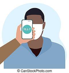 gens, température, balayage, téléphone, santé, distance