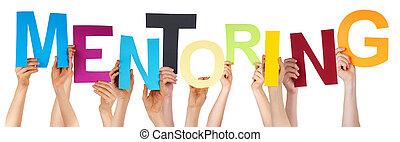 gens, tenue, beaucoup, mot, mains, coloré, mentoring