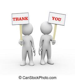 gens, tenue, planche, 3d, signe, remercier, bannière, vous