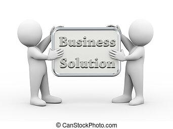gens, tenue, planche, solution, 3d, business