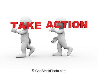 gens, texte, action, mot, prendre, 3d