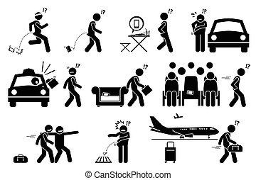 gens, tomber, oublier, mal placé, et, perdre, leur, téléphone, et, belongings.