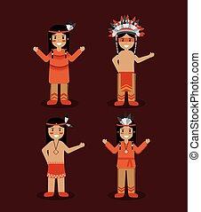 gens, traditionnel, indien amérique, déguisement, indigène