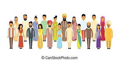 gens, traditionnel, indien, groupe, longueur, différent, vêtements, illustration, entiers, plat