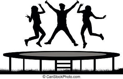 gens, trampoline, silhouette, saut, sauter, friends.