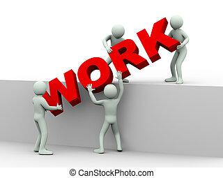 gens, travail, -, 3d, concept