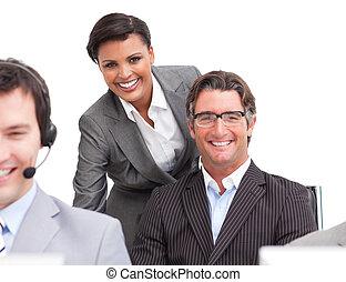 gens, travail, enthousiaste, business