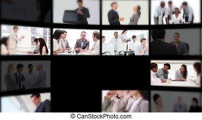 gens, travail, présentation, montage