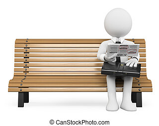 gens., travail, regarder, journal, homme affaires, blanc, 3d