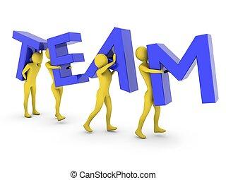 gens travaillant ensemble, porter, bleu, équipe, lettres