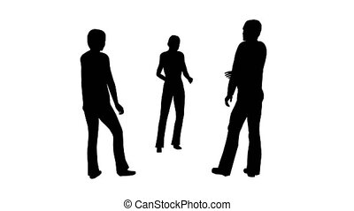 gens, trois, silhouettes, stand, blanc, parler