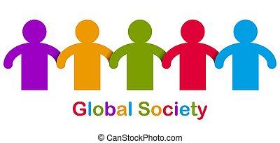 gens, une, coopération, allégorie, solidarité, unité, concept, amitié, togetherness, mondiale, vecteur, mondial, races, logo, ou, icon., stand, global, différent, illustration, société, nous