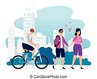 gens urbains, scène, jeune, bâtiments