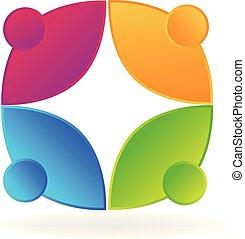 gens, vecteur, collaboration, social, logo, icône
