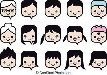 gens, vecteur, ensemble, icône, faces