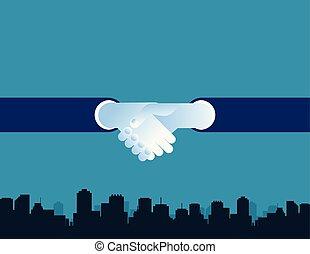 gens, vecteur, flat., reussite, fond, mains secouer, business, city., concept, illustration.