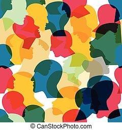 gens, vecteur, foule, profil, modèle, seamless, différent,...