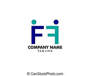 gens, vecteur, lettre, logo, initiale, conception, ff