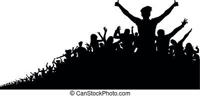 gens, vecteur, silhouette, fond, foule