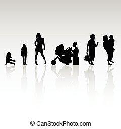 gens, vecteur, silhouette, illustration