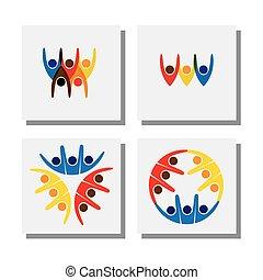 gens, vecteur, -, vif, ensemble, logo, amis, heureux, excité, icônes
