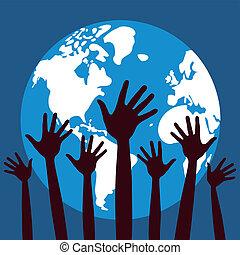 gens, vector., mondiale