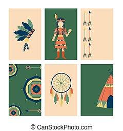 gens, vendange, indiens, ornement, illustration, élément, vecteur, retro, ethnique, cartes, hindouisme, outils, temple, icône