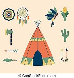 gens, vendange, indiens, ornement, illustration, élément, vecteur, retro, ethnique, hindouisme, outils, temple, icône