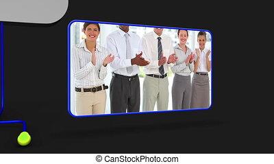 gens, vidéo, business, heureux