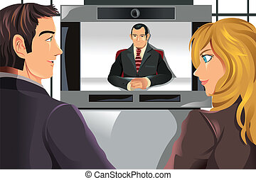 gens, vidéo, business, visioconférence