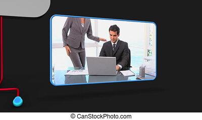 gens, vidéo, offi, business